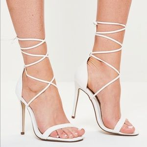 ****NWT**** Missguided White Croc Lace Up Heels